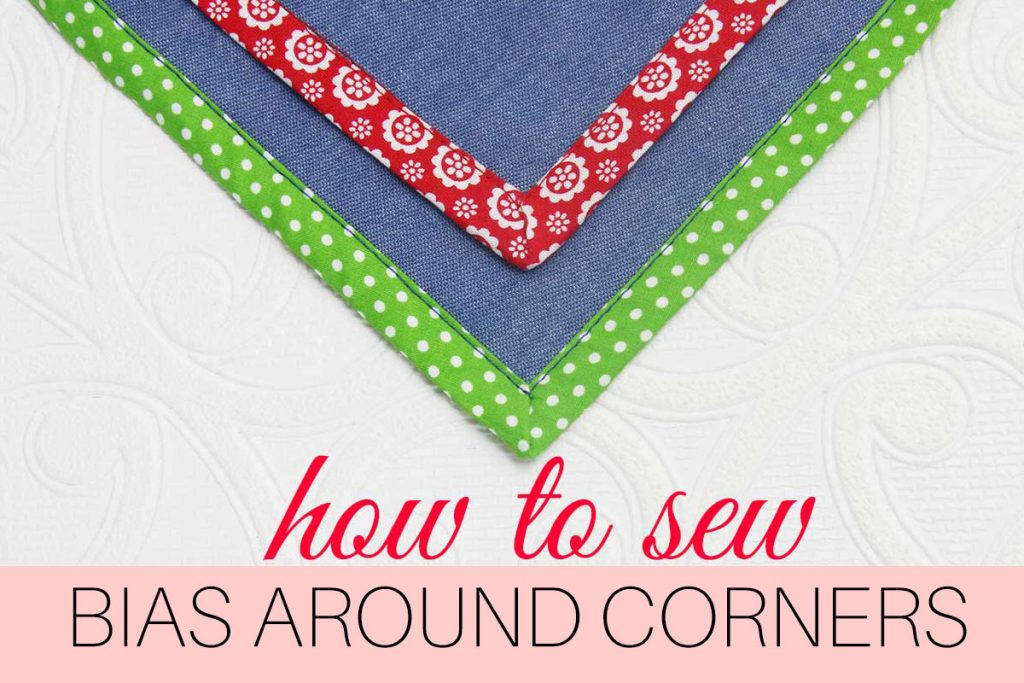 how to sew bias tape corners, mitered corners