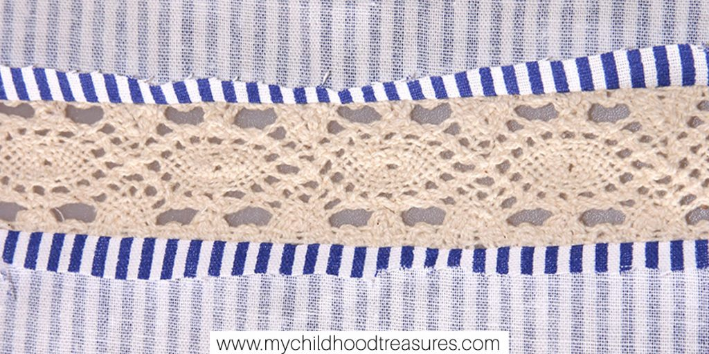 how to sew lace insert - press