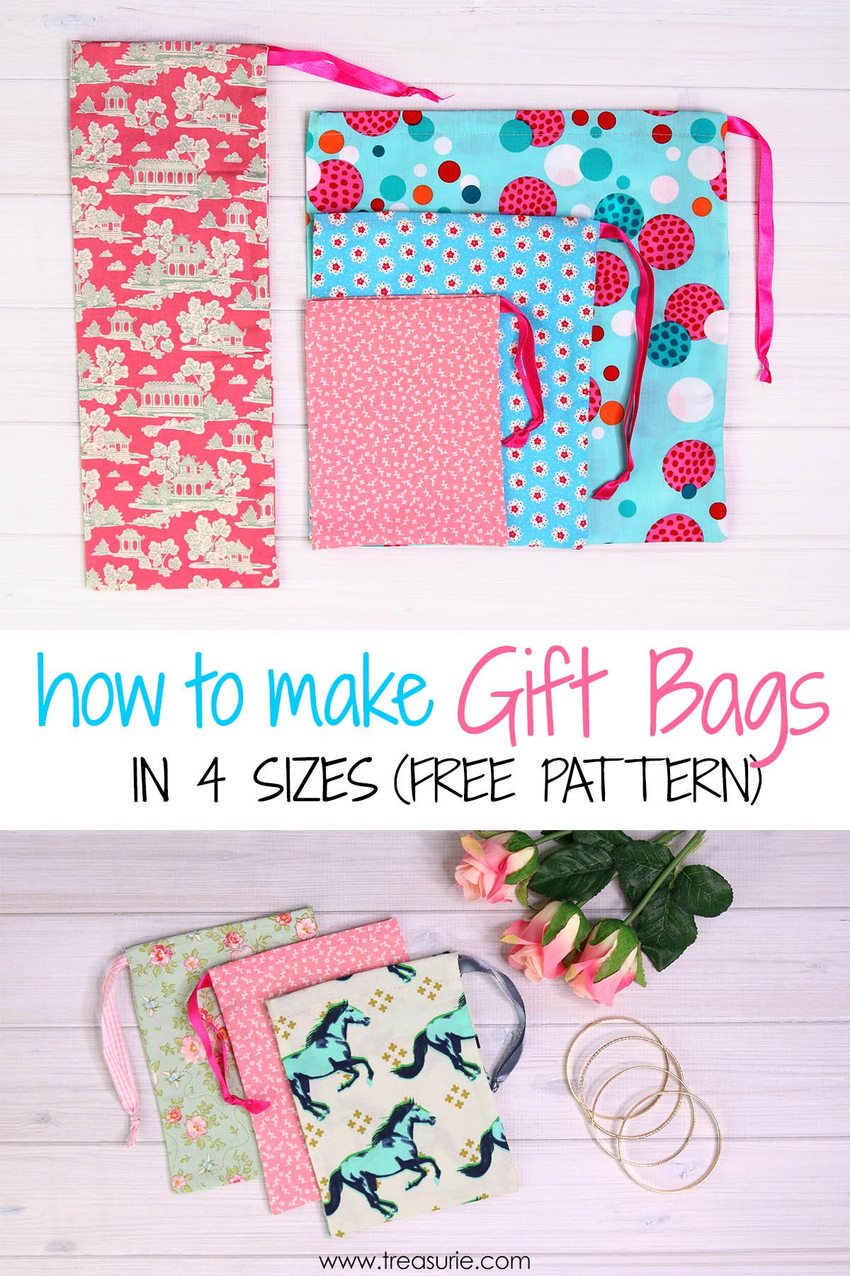 How To Make Fabric Gift Bags 4 Sizes Treasurie