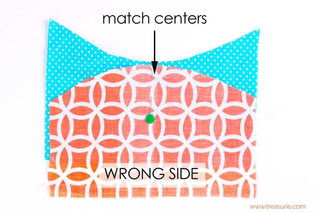 match centers,  Sewing Curves - Opposing