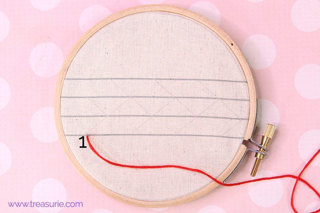 feather stitch step 1