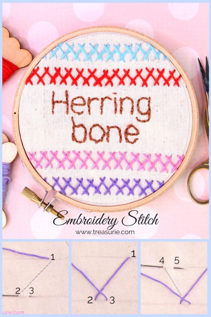 herringbone stitch, embroidery