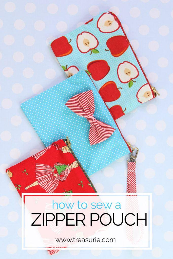 zipper pouch tutorial, how to sew  a zipper pouch