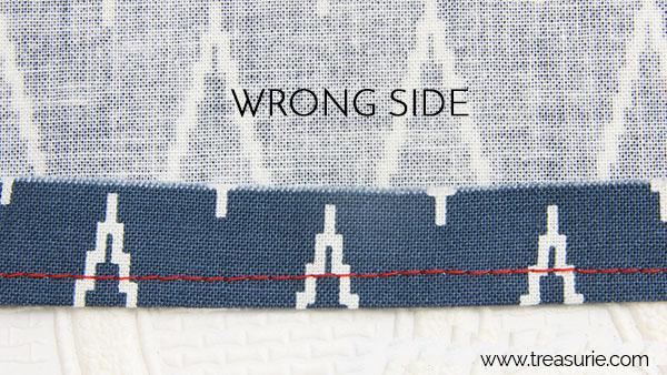 narrow hem with sewing machine step 1