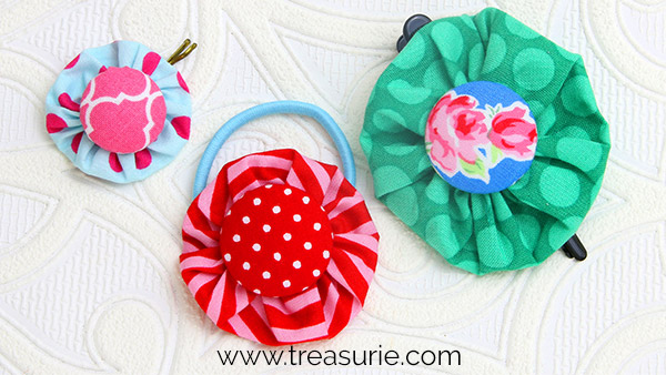 Hair Clips Made with Fabric Yo Yos