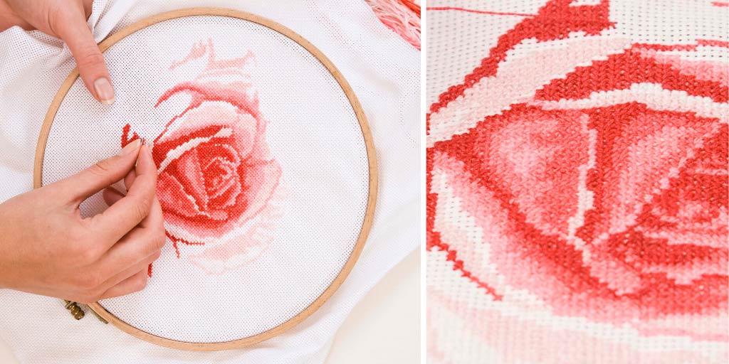 how to cross stitch on Aida
