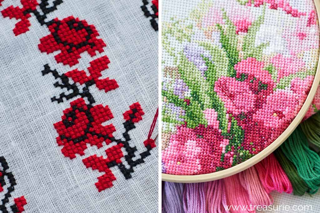 Embroidery Rose with Cross Stitch